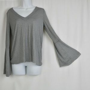 Lucky Brand Blouse Small Long Bell Sleeve Key Hole